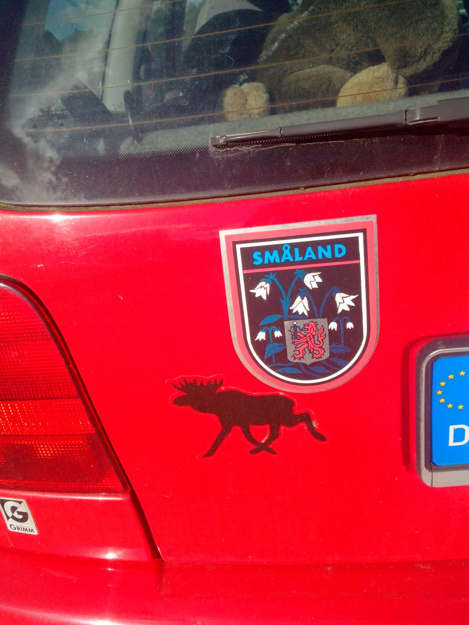 Elch Aufkleber auf deutschem Auto