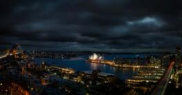 Sydney bei Nacht ein Panorama Bild